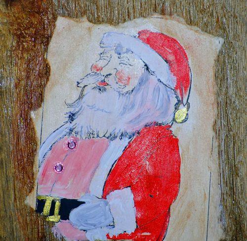 Santa on wood